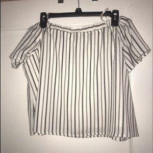 Dee and Rae White & Black striped Off the Shoulder